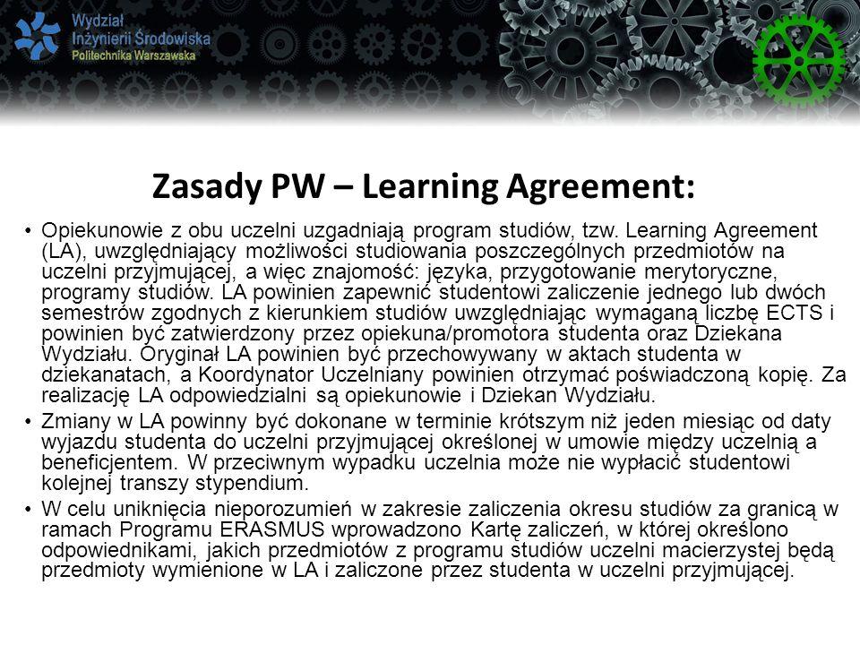 Zasady PW – Learning Agreement: Opiekunowie z obu uczelni uzgadniają program studiów, tzw.