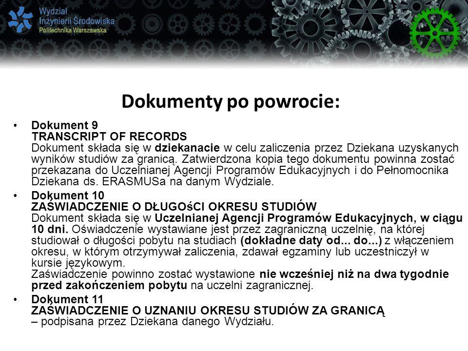 Dokumenty po powrocie: Dokument 9 TRANSCRIPT OF RECORDS Dokument składa się w dziekanacie w celu zaliczenia przez Dziekana uzyskanych wyników studiów za granicą.