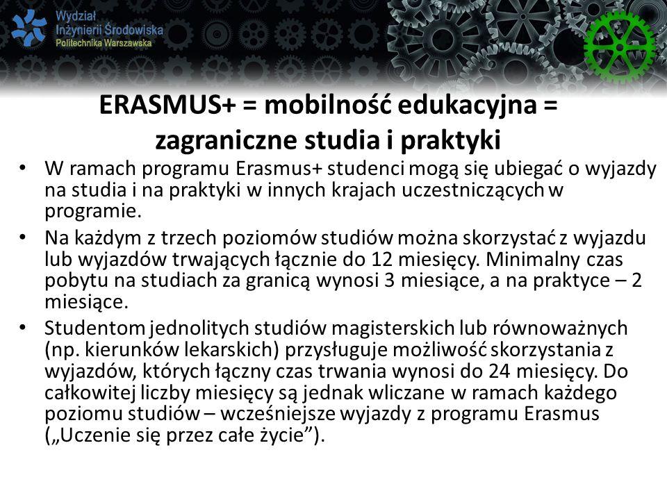 ERASMUS+ = mobilność edukacyjna = zagraniczne studia i praktyki W ramach programu Erasmus+ studenci mogą się ubiegać o wyjazdy na studia i na praktyki w innych krajach uczestniczących w programie.
