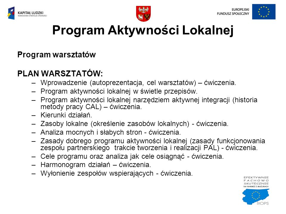 Program Aktywności Lokalnej Program warsztatów PLAN WARSZTATÓW: –Wprowadzenie (autoprezentacja, cel warsztatów) – ćwiczenia. –Program aktywności lokal