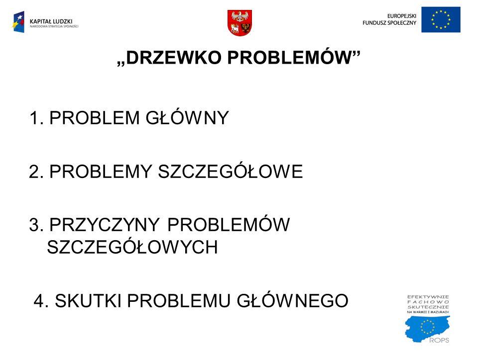 1. PROBLEM GŁÓWNY 2. PROBLEMY SZCZEGÓŁOWE 3. PRZYCZYNY PROBLEMÓW SZCZEGÓŁOWYCH 4. SKUTKI PROBLEMU GŁÓWNEGO DRZEWKO PROBLEMÓW