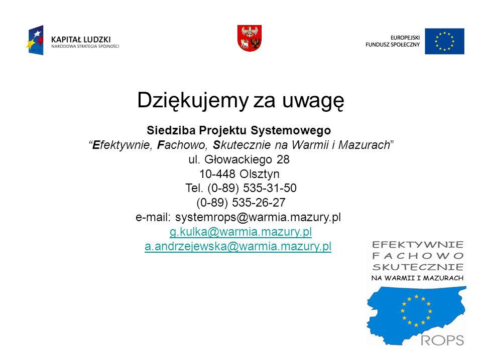 Dziękujemy za uwagę Siedziba Projektu Systemowego Efektywnie, Fachowo, Skutecznie na Warmii i Mazurach ul. Głowackiego 28 10-448 Olsztyn Tel. (0-89) 5