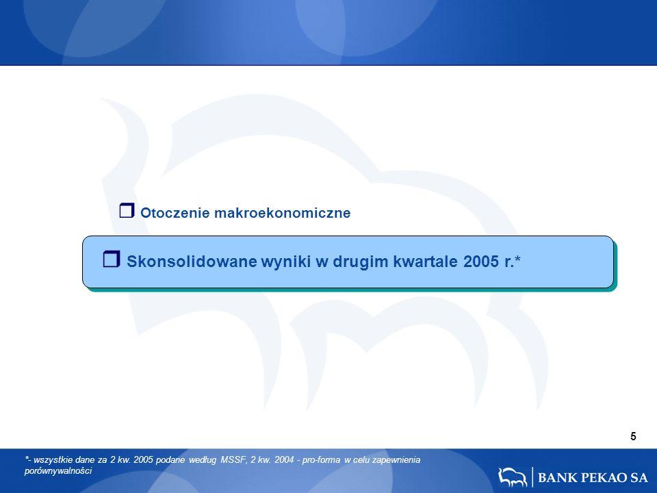 r Skonsolidowane wyniki w drugim kwartale 2005 r.* 5 *- wszystkie dane za 2 kw. 2005 podane według MSSF, 2 kw. 2004 - pro-forma w celu zapewnienia por