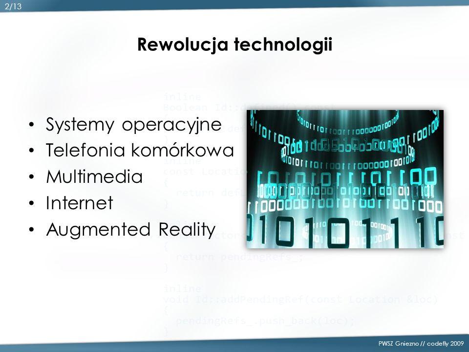 Rewolucja technologii Systemy operacyjne Telefonia komórkowa Multimedia Internet Augmented Reality PWSZ Gniezno // codefly 2009 2/13