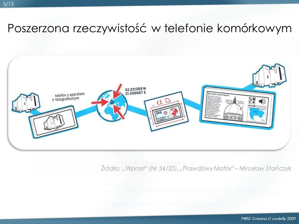 Poszerzona rzeczywistość w telefonie komórkowym Źródło: Wprost (Nr 34/35), Prawdziwy Matrix – Mirosław Stańczyk PWSZ Gniezno // codefly 2009 5/13
