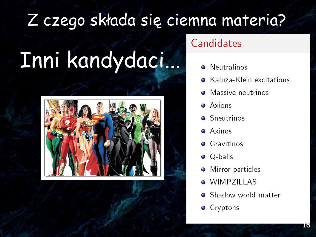 16 Z czego składa się ciemna materia Inni kandydaci...