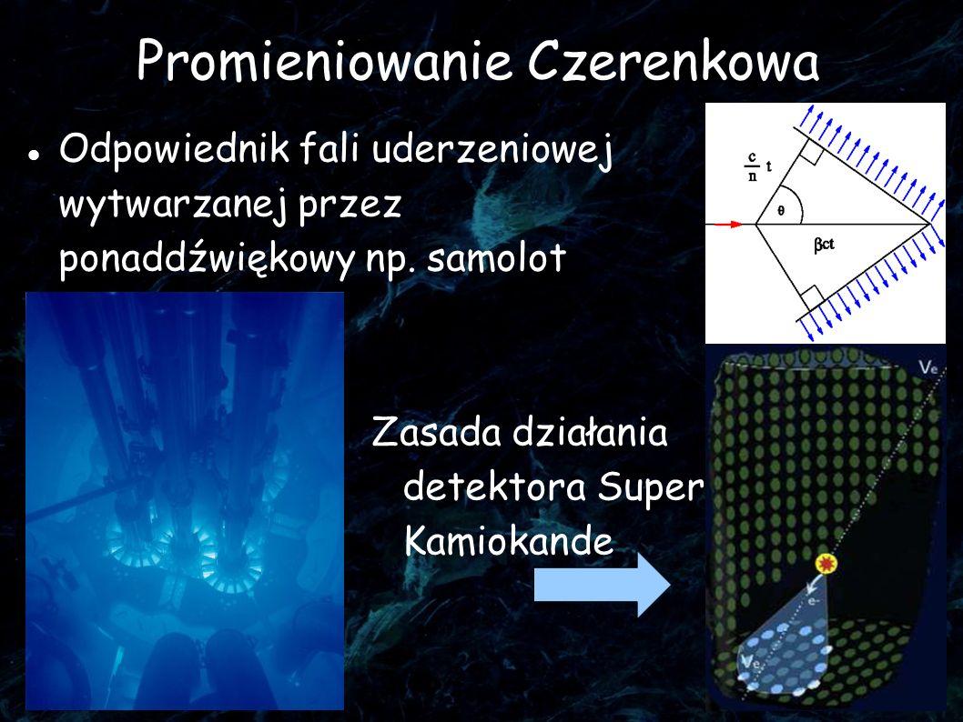 27 Promieniowanie Czerenkowa Odpowiednik fali uderzeniowej wytwarzanej przez ponaddźwiękowy np. samolot Zasada działania detektora Super Kamiokande