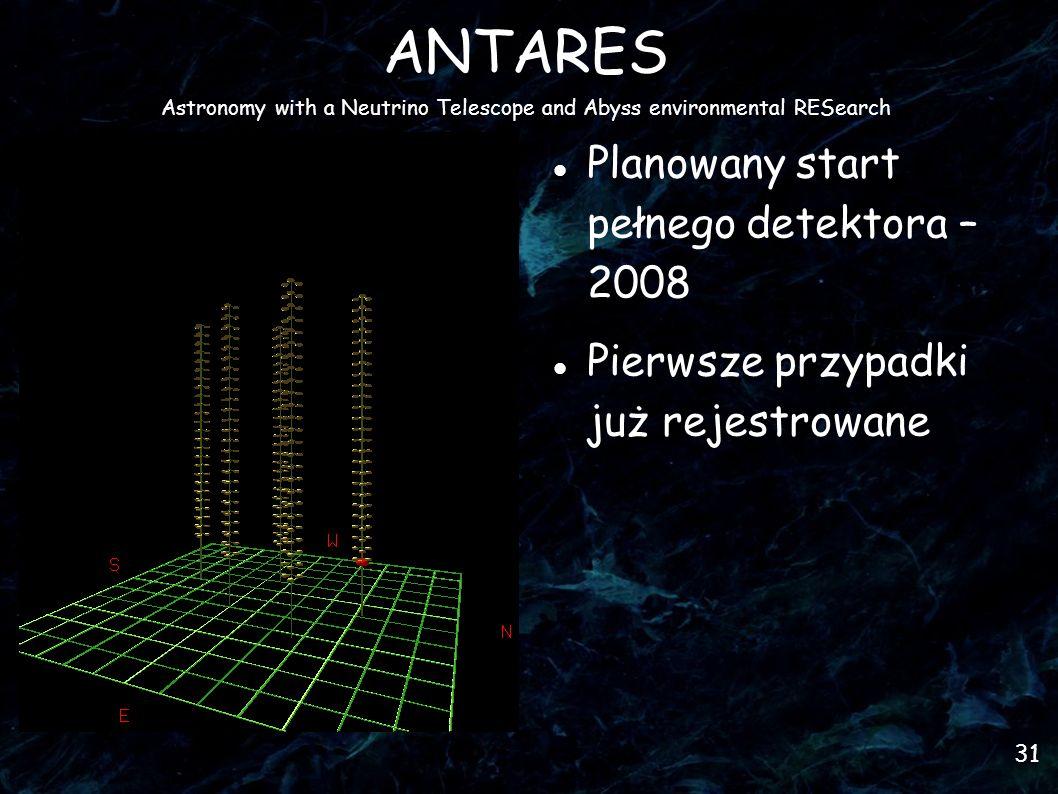 31 ANTARES Astronomy with a Neutrino Telescope and Abyss environmental RESearch Planowany start pełnego detektora – 2008 Pierwsze przypadki już rejestrowane