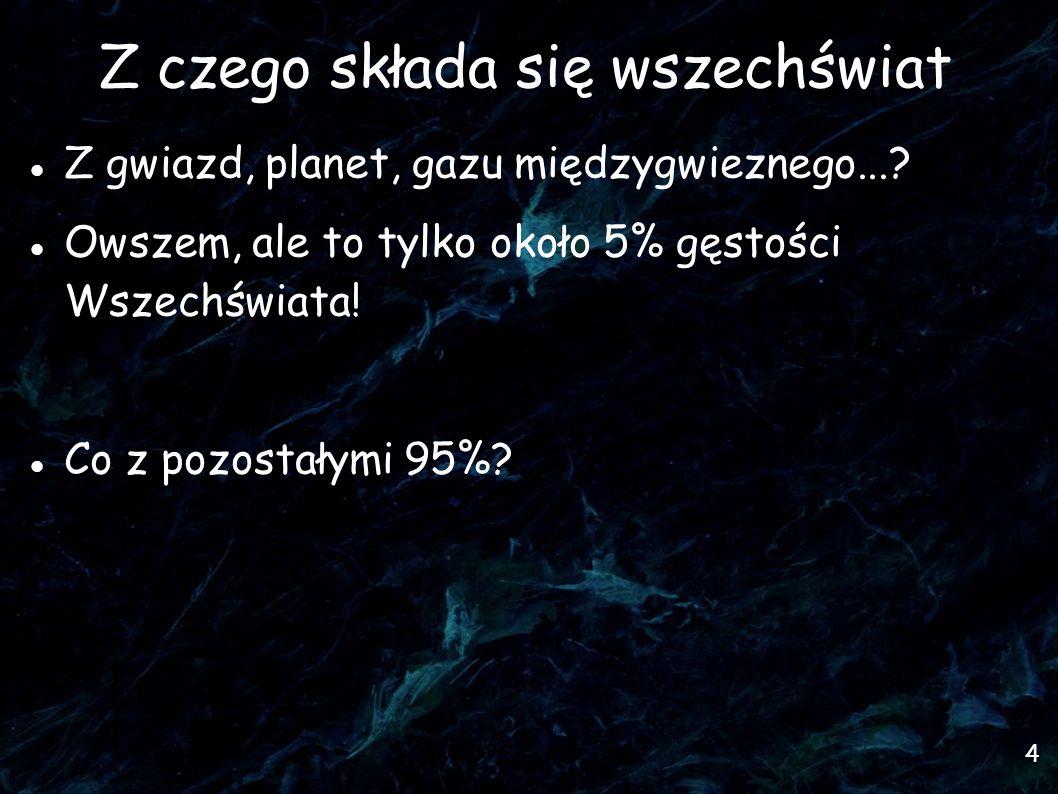 4 Z czego składa się wszechświat Z gwiazd, planet, gazu międzygwieznego...? Owszem, ale to tylko około 5% gęstości Wszechświata! Co z pozostałymi 95%?