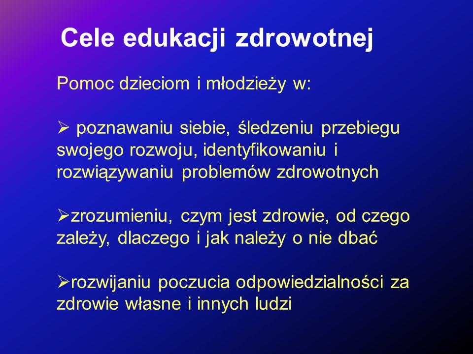Cele edukacji zdrowotnej Pomoc dzieciom i młodzieży w: poznawaniu siebie, śledzeniu przebiegu swojego rozwoju, identyfikowaniu i rozwiązywaniu problem