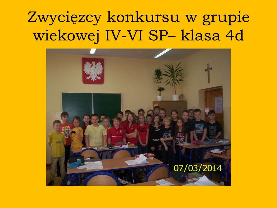 Zwycięzcy konkursu w grupie wiekowej IV-VI SP– klasa 4d