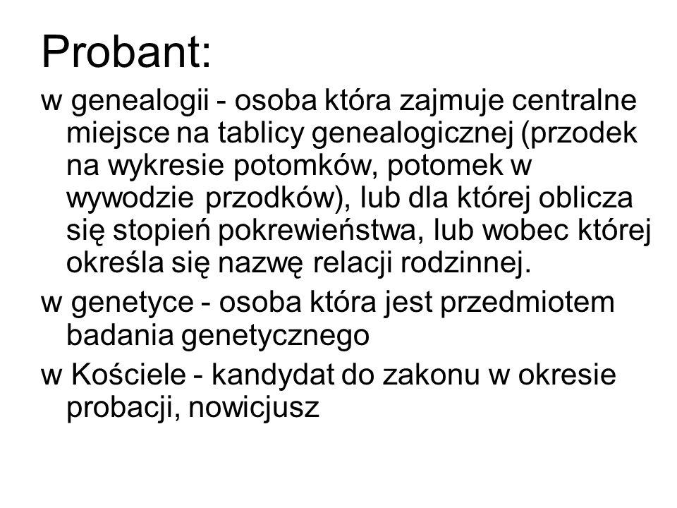 Probant: w genealogii - osoba która zajmuje centralne miejsce na tablicy genealogicznej (przodek na wykresie potomków, potomek w wywodzie przodków), l