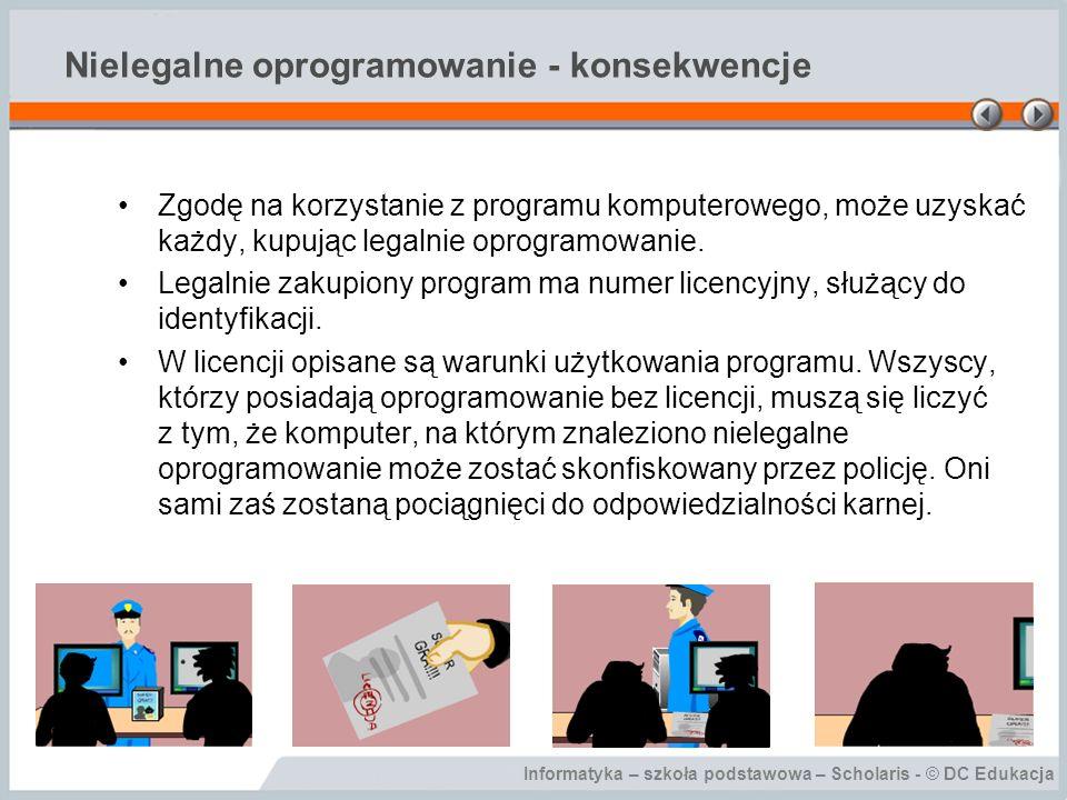 Informatyka – szkoła podstawowa – Scholaris - © DC Edukacja Nielegalne oprogramowanie - konsekwencje Zgodę na korzystanie z programu komputerowego, mo