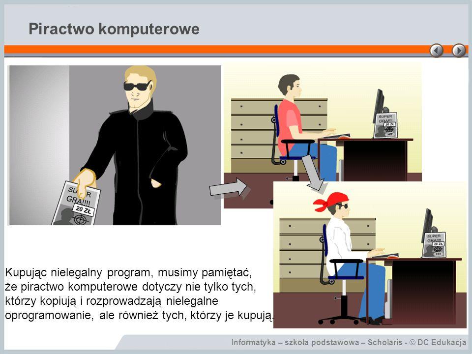 Informatyka – szkoła podstawowa – Scholaris - © DC Edukacja Piractwo komputerowe Kupując nielegalny program, musimy pamiętać, że piractwo komputerowe