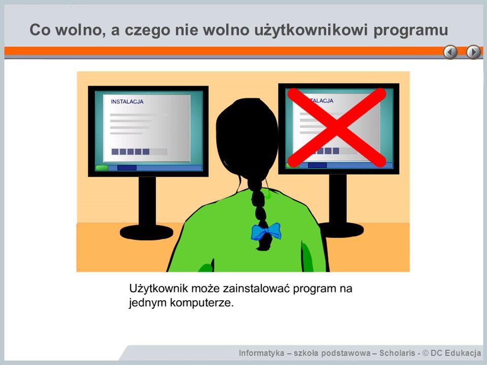 Informatyka – szkoła podstawowa – Scholaris - © DC Edukacja Co wolno, a czego nie wolno użytkownikowi programu