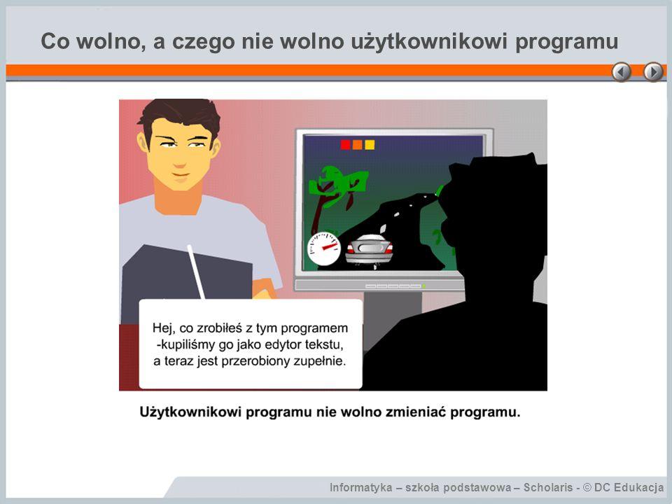 Informatyka – szkoła podstawowa – Scholaris - © DC Edukacja Piractwo komputerowe Piractwo komputerowe to łamanie praw autorskich, nielegalne posługiwanie się programem komputerowym bez zgody autora lub producenta i bez uiszczenia odpowiedniej opłaty.