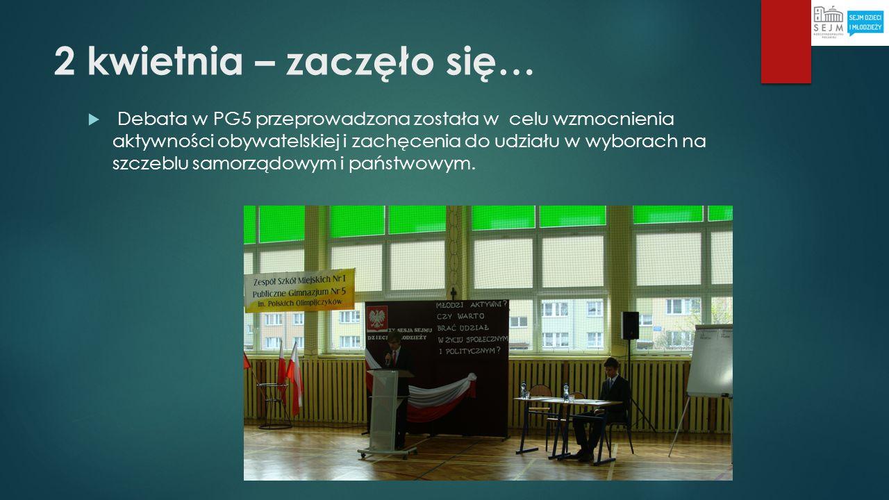 2 kwietnia – zaczęło się… Debata w PG5 przeprowadzona została w celu wzmocnienia aktywności obywatelskiej i zachęcenia do udziału w wyborach na szczeb
