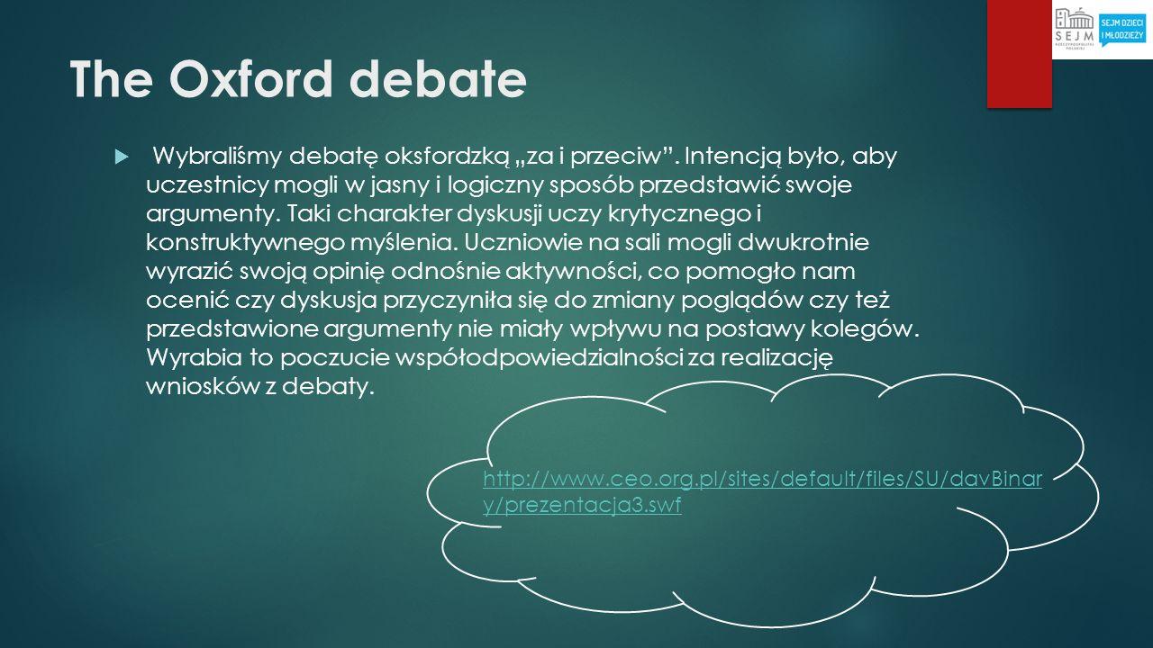 The Oxford debate Wybraliśmy debatę oksfordzką za i przeciw. Intencją było, aby uczestnicy mogli w jasny i logiczny sposób przedstawić swoje argumenty