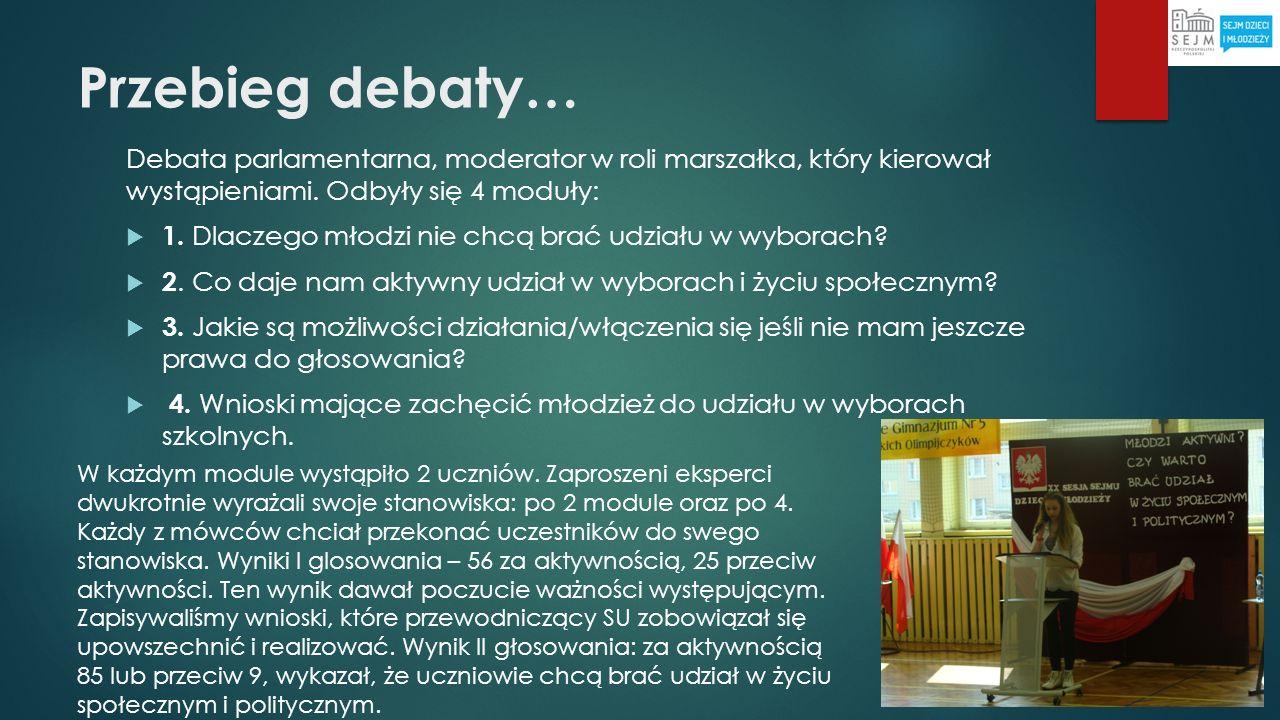 Przebieg debaty… Debata parlamentarna, moderator w roli marszałka, który kierował wystąpieniami. Odbyły się 4 moduły: 1. Dlaczego młodzi nie chcą brać