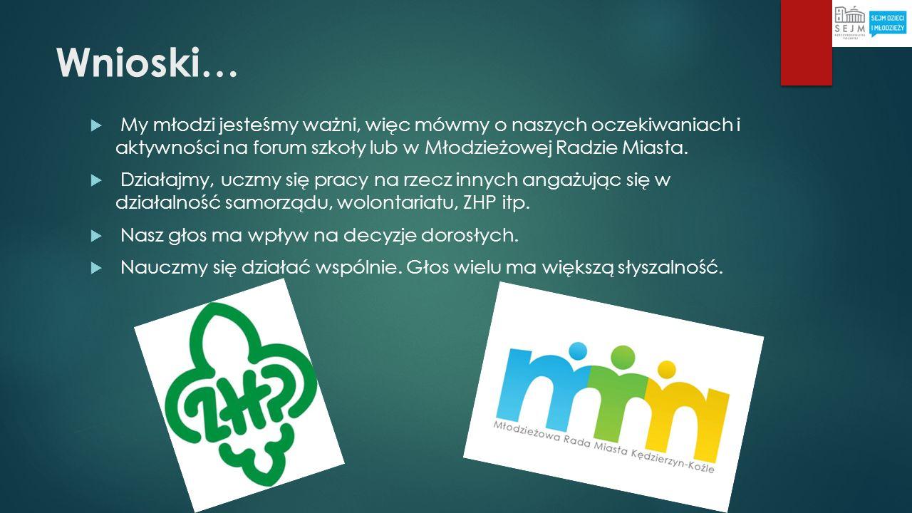 Wnioski… My młodzi jesteśmy ważni, więc mówmy o naszych oczekiwaniach i aktywności na forum szkoły lub w Młodzieżowej Radzie Miasta. Działajmy, uczmy