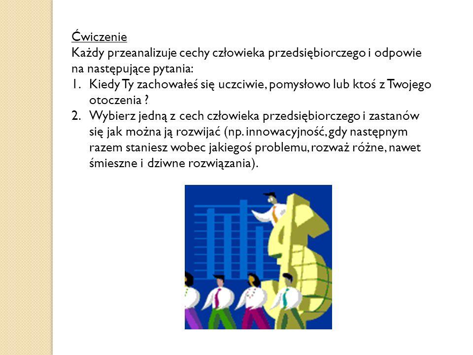 Cechy człowieka przedsiębiorczego: Chęć uczenia się i rozwijania Wyobraźnia i elastyczność Umiejętność porozumiewania się i rozwiązywania konfliktów U