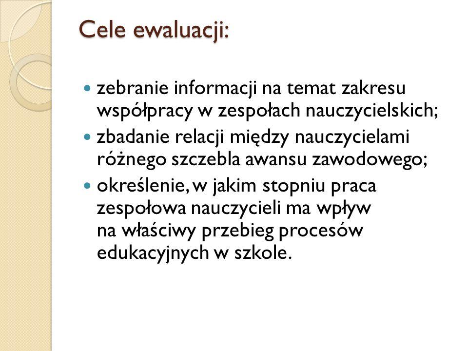 Cele ewaluacji: zebranie informacji na temat zakresu współpracy w zespołach nauczycielskich; zbadanie relacji między nauczycielami różnego szczebla aw