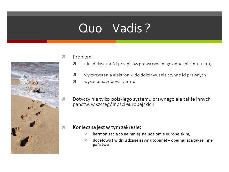 Quo Vadis ? Problem: nieadekwatności przepisów prawa cywilnego odnośnie Internetu, wykorzystania elektroniki do dokonywania czynności prawnych wykonan