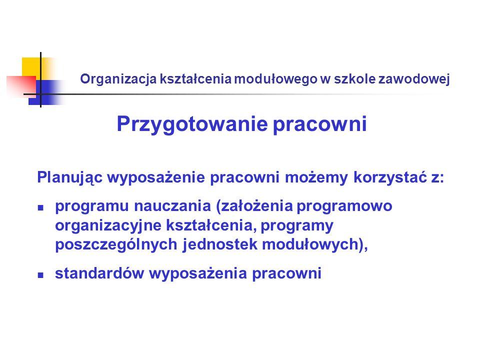 Organizacja kształcenia modułowego w szkole zawodowej Przygotowanie pracowni Planując wyposażenie pracowni możemy korzystać z: programu nauczania (zał