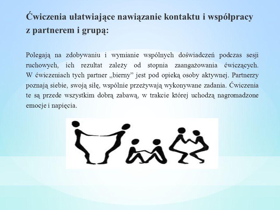 Ćwiczenia ułatwiające nawiązanie kontaktu i współpracy z partnerem i grupą: Polegają na zdobywaniu i wymianie wspólnych doświadczeń podczas sesji ruch