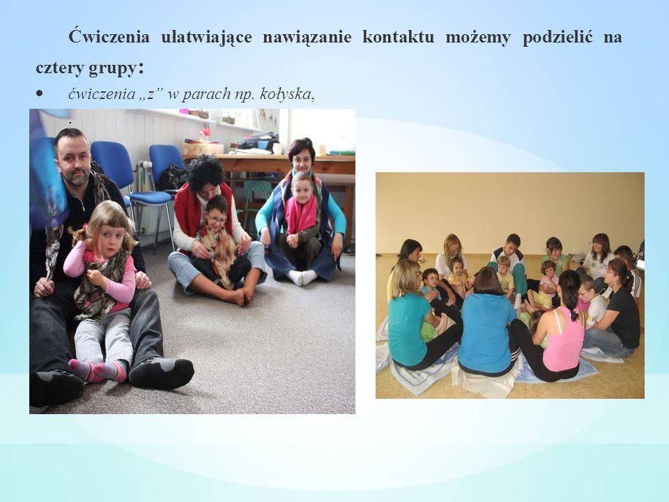 Ćwiczenia ułatwiające nawiązanie kontaktu możemy podzielić na cztery grupy : ćwiczenia z w parach np. kołyska,.