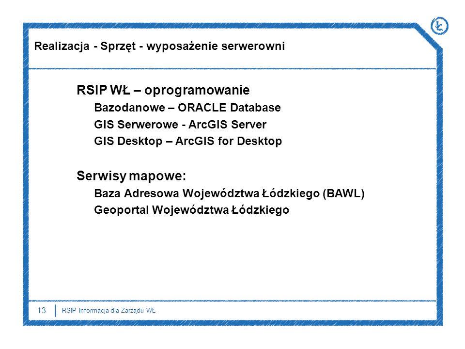 13 RSIP Informacja dla Zarządu WŁ RSIP WŁ – oprogramowanie Bazodanowe – ORACLE Database GIS Serwerowe - ArcGIS Server GIS Desktop – ArcGIS for Desktop