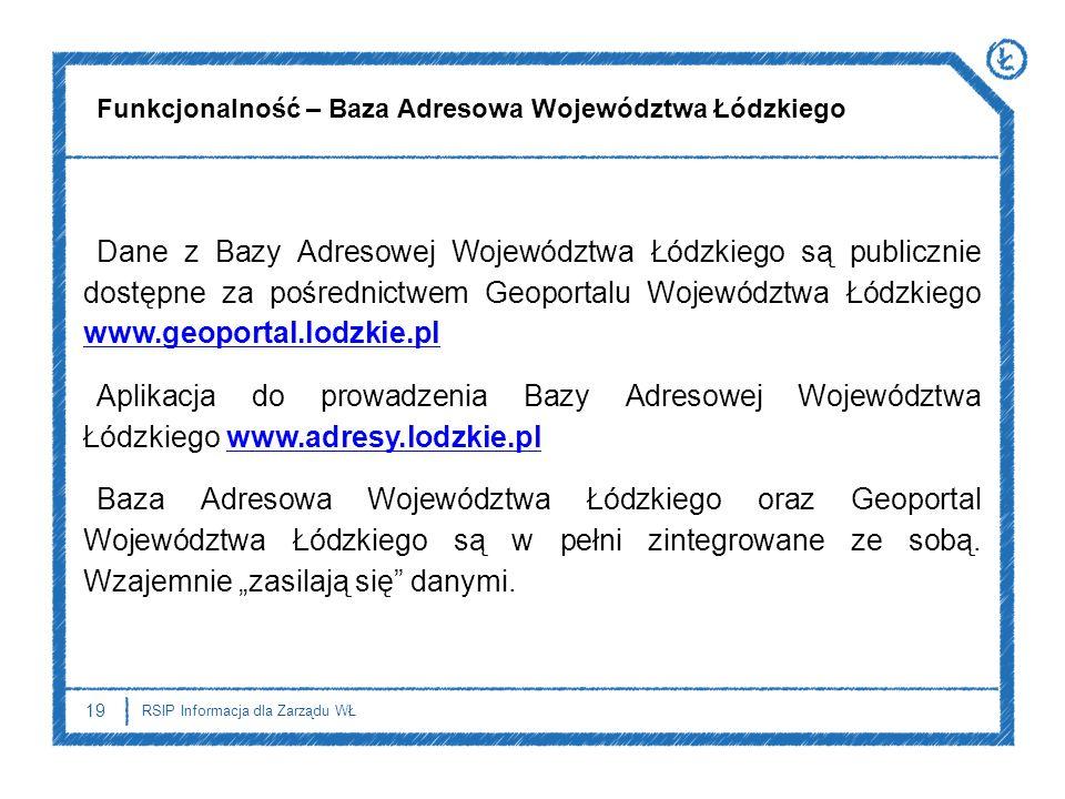 19 RSIP Informacja dla Zarządu WŁ Dane z Bazy Adresowej Województwa Łódzkiego są publicznie dostępne za pośrednictwem Geoportalu Województwa Łódzkiego