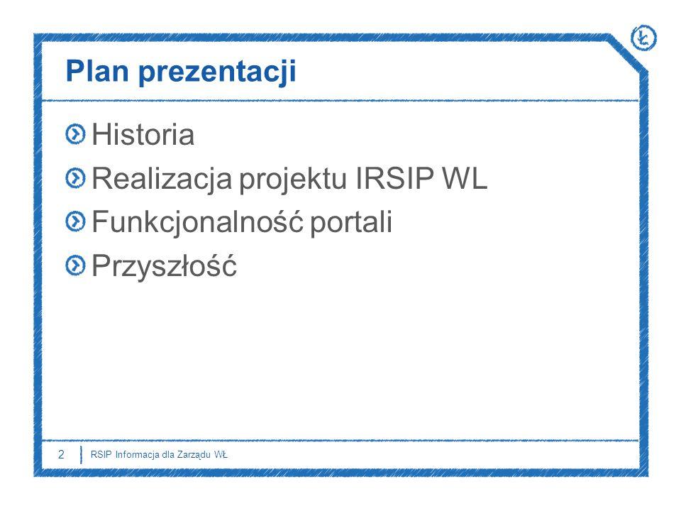 Plan prezentacji Historia Realizacja projektu IRSIP WL Funkcjonalność portali Przyszłość 2 RSIP Informacja dla Zarządu WŁ