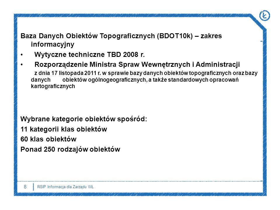 8 RSIP Informacja dla Zarządu WŁ Baza Danych Obiektów Topograficznych (BDOT10k) – zakres informacyjny Wytyczne techniczne TBD 2008 r. Rozporządzenie M