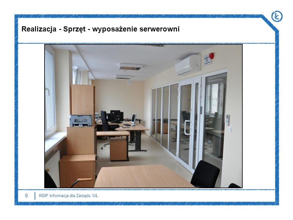 9 RSIP Informacja dla Zarządu WŁ Realizacja - Sprzęt - wyposażenie serwerowni