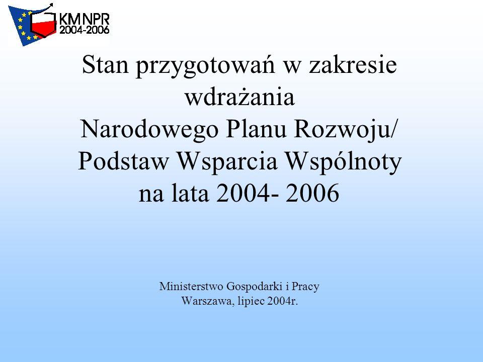 Stan przygotowań w zakresie wdrażania Narodowego Planu Rozwoju/ Podstaw Wsparcia Wspólnoty na lata 2004- 2006 Ministerstwo Gospodarki i Pracy Warszawa, lipiec 2004r.