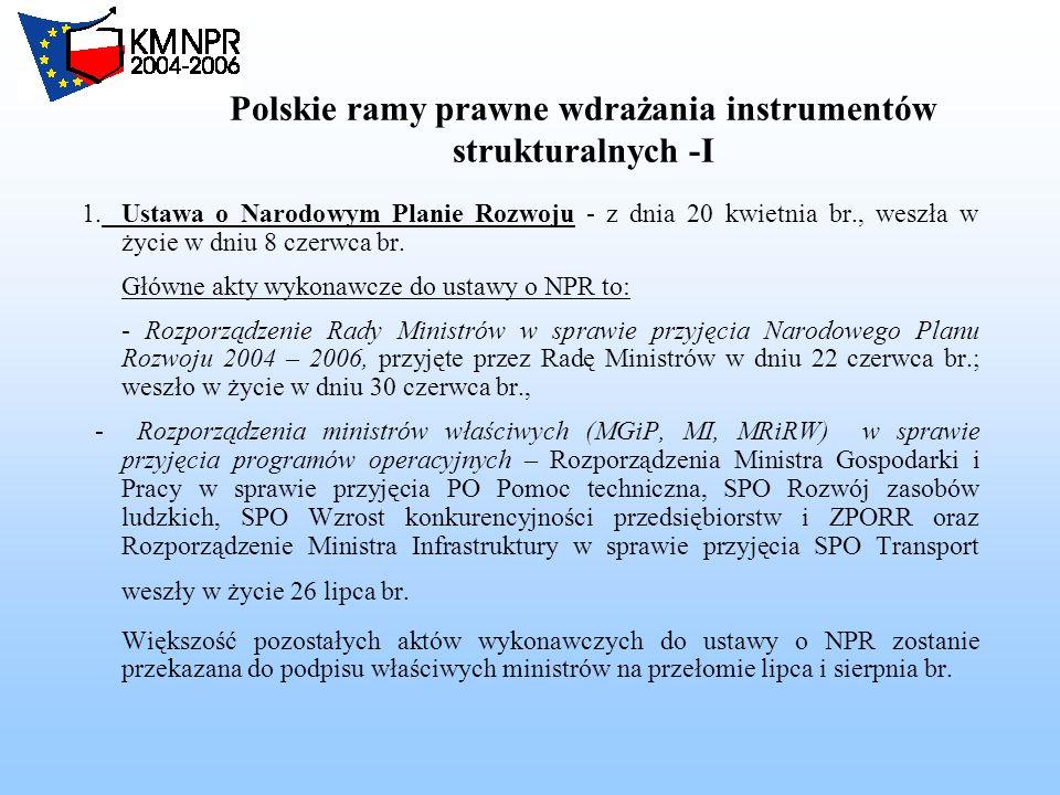Polskie ramy prawne wdrażania instrumentów strukturalnych -I 1.Ustawa o Narodowym Planie Rozwoju - z dnia 20 kwietnia br., weszła w życie w dniu 8 czerwca br.