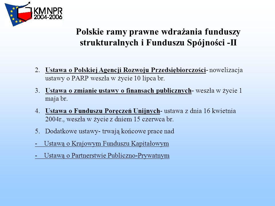 Polskie ramy prawne wdrażania funduszy strukturalnych i Funduszu Spójności -II - 2.Ustawa o Polskiej Agencji Rozwoju Przedsiębiorczości- nowelizacja ustawy o PARP weszła w życie 10 lipca br.