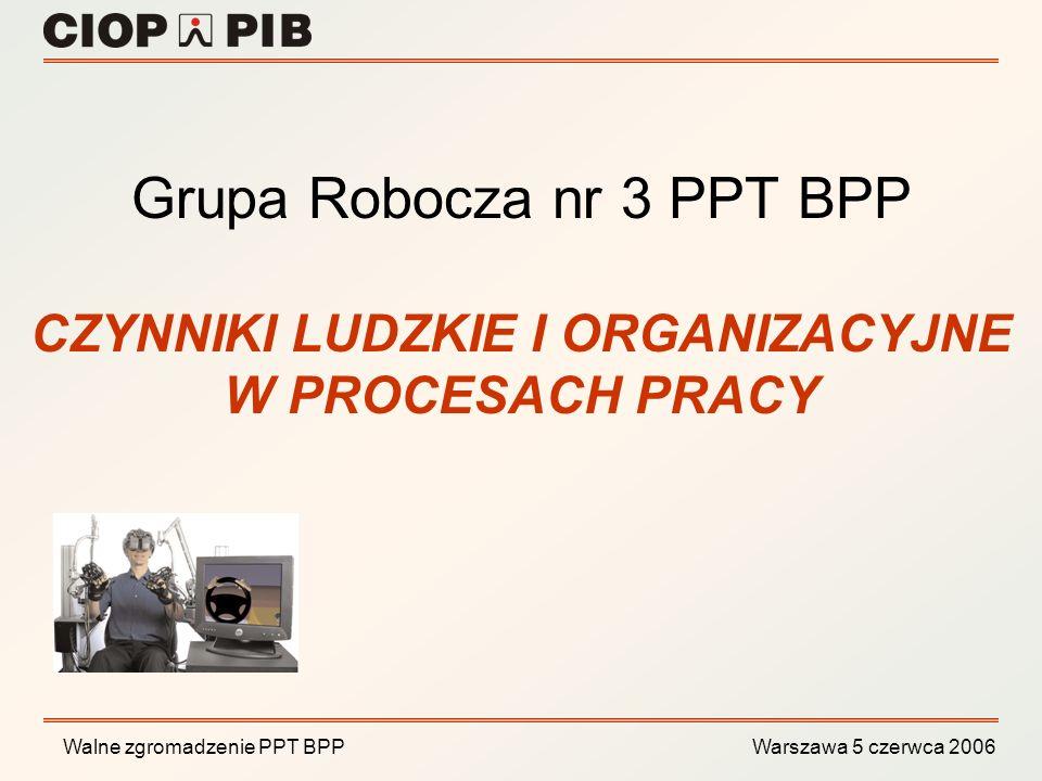 Walne zgromadzenie PPT BPP Warszawa 5 czerwca 2006 ocena ryzyka zawodowego związanego z uciążliwościami w procesach pracy, optymalizacja i projektowanie stanowisk badawczych, z uwzględnieniem wymagań ergonomii, zarządzanie zasobami ludzkimi, systemy zarządzania bezpieczeństwem i higieną pracy, Tematyka badawcza Grupy Roboczej Czynniki ludzkie i organizacyjne odnosi się do następujących aspektów związanych z zapewnieniem BHP: