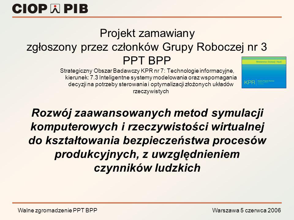 Walne zgromadzenie PPT BPP Warszawa 5 czerwca 2006 Rozwój zaawansowanych metod symulacji komputerowych i rzeczywistości wirtualnej do kształtowania be