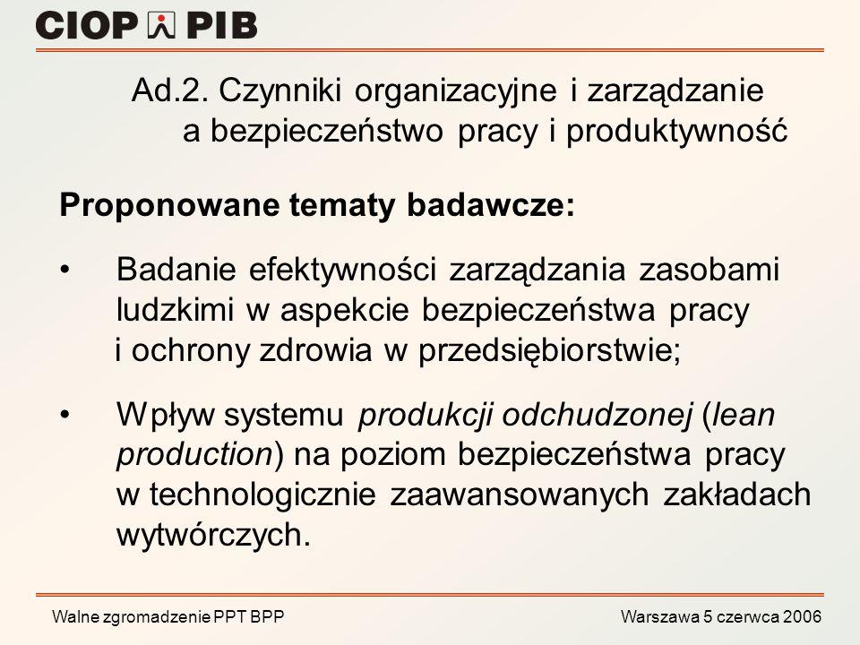 Walne zgromadzenie PPT BPP Warszawa 5 czerwca 2006 Opracowanie kryteriów biomechanicznej oceny obciążenia kręgosłupa lędźwiowego podczas pracy o charakterze statycznym; Metody prewencji dolegliwości mięśniowo-szkieletowych na stanowiskach pracy; Optymalizacja pozycji pracy na stanowiskach operatorów na podstawie obciążenia stawów kończyny dolnej i dokładności sterowania pedałami; Proponowane tematy badawcze: Ad.3.