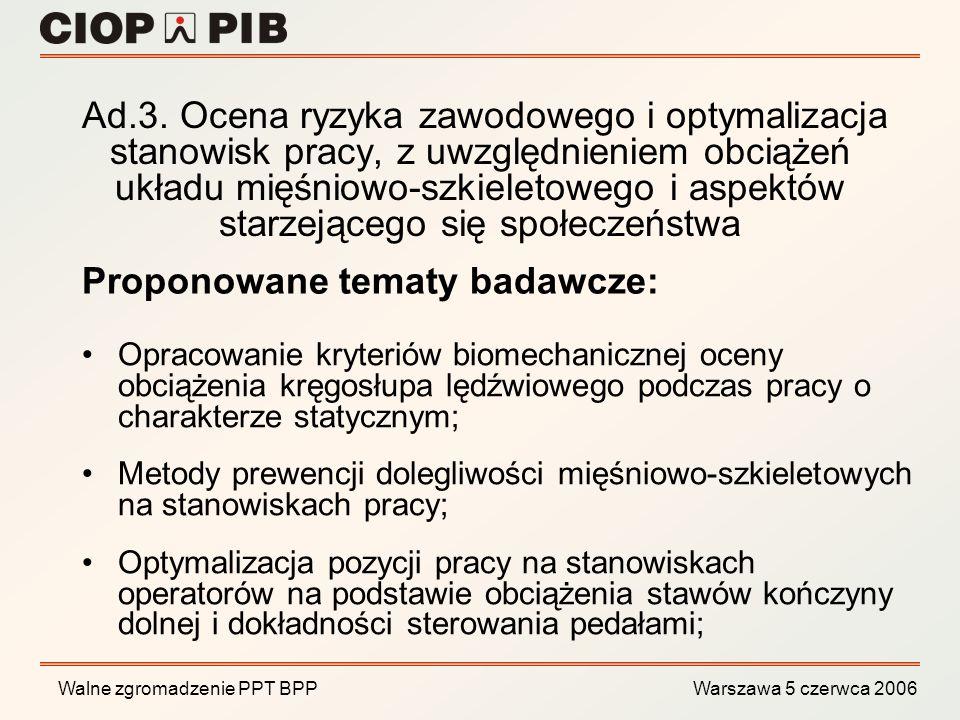 Walne zgromadzenie PPT BPP Warszawa 5 czerwca 2006 Opracowanie kryteriów biomechanicznej oceny obciążenia kręgosłupa lędźwiowego podczas pracy o chara