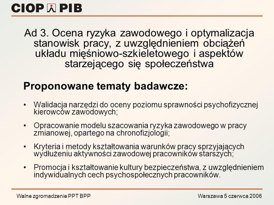 Walne zgromadzenie PPT BPP Warszawa 5 czerwca 2006 Rozwój zaawansowanych metod symulacji komputerowych i rzeczywistości wirtualnej do kształtowania bezpieczeństwa procesów produkcyjnych, z uwzględnieniem czynników ludzkich Projekt zamawiany zgłoszony przez członków Grupy Roboczej nr 3 PPT BPP Strategiczny Obszar Badawczy KPR nr 7: Technologie informacyjne, kierunek: 7.3 Inteligentne systemy modelowania oraz wspomagania decyzji na potrzeby sterowania i optymalizacji złożonych układów rzeczywistych