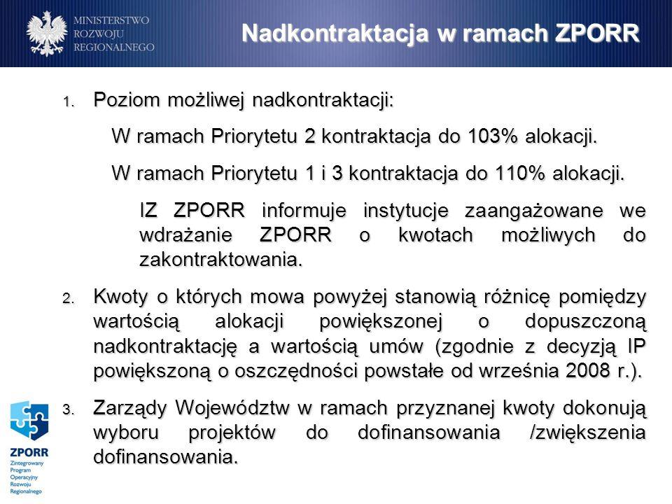 Nadkontraktacja w ramach ZPORR 1.