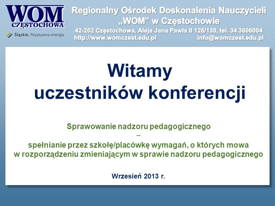 Witamy uczestników konferencji Sprawowanie nadzoru pedagogicznego spełnianie przez szkołę/placówkę wymagań, o których mowa w rozporządzeniu zmieniając