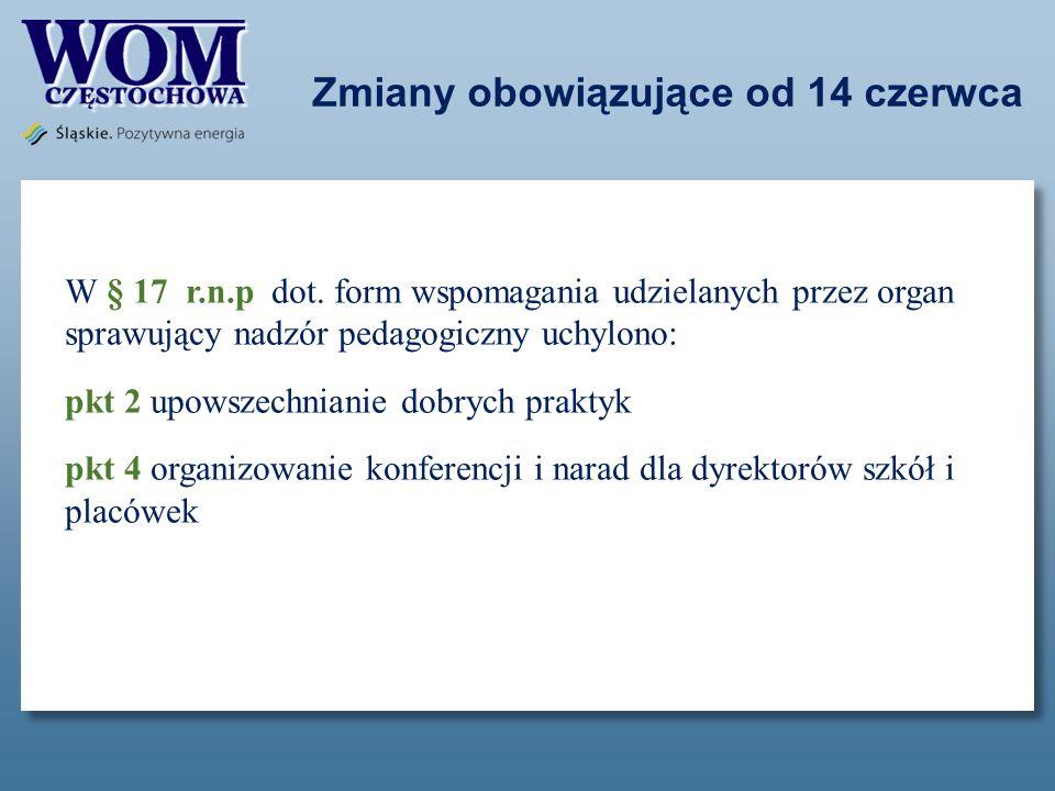 Zmiany obowiązujące od 14 czerwca W § 17 r.n.p dot. form wspomagania udzielanych przez organ sprawujący nadzór pedagogiczny uchylono: pkt 2 upowszechn