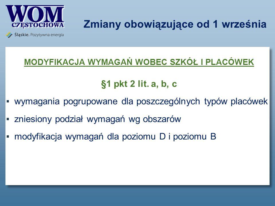 Zmiany obowiązujące od 1 września MODYFIKACJA WYMAGAŃ WOBEC SZKÓŁ I PLACÓWEK §1 pkt 2 lit. a, b, c wymagania pogrupowane dla poszczególnych typów plac