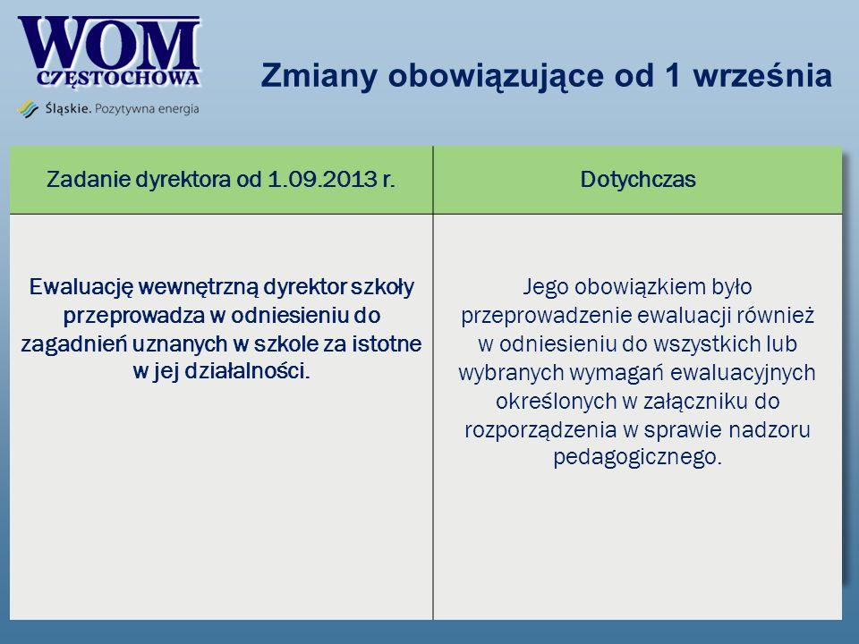 Zmiany obowiązujące od 1 września Zadanie dyrektora od 1.09.2013 r.Dotychczas Ewaluację wewnętrzną dyrektor szkoły przeprowadza w odniesieniu do zagad