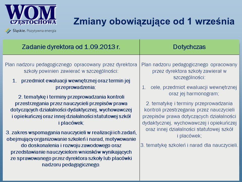 Zmiany obowiązujące od 1 września Zadanie dyrektora od 1.09.2013 r.Dotychczas Plan nadzoru pedagogicznego opracowany przez dyrektora szkoły powinien