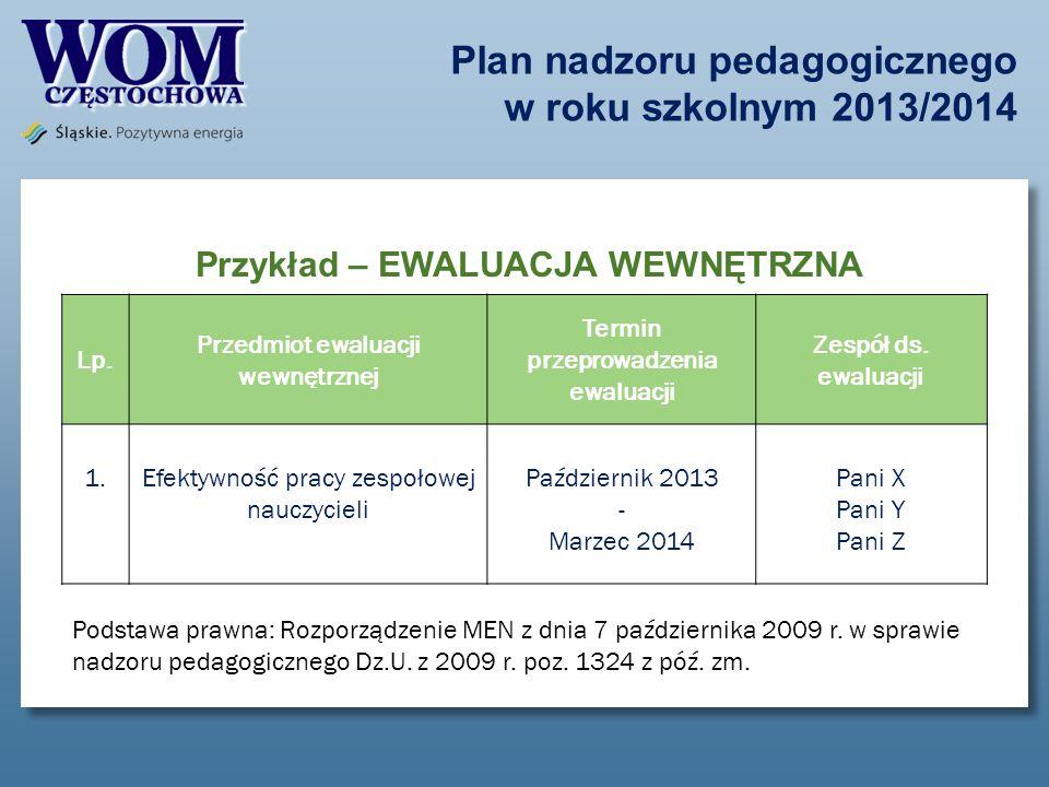 Plan nadzoru pedagogicznego w roku szkolnym 2013/2014 Przykład – EWALUACJA WEWNĘTRZNA Lp. Przedmiot ewaluacji wewnętrznej Termin przeprowadzenia ewalu